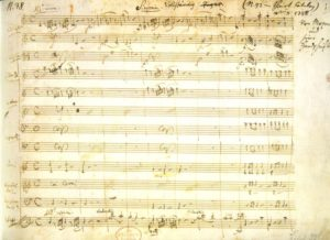 The first page of Mozart's manuscript of the Jupiter Symphony
