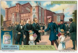 Advertising postcard picturing Wagner (with his father-in-law Franz Liszt directly behind him) greeting Kaiser Wilhelm I at the inaugural Bayreuth Festival in 1876