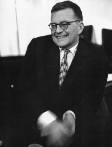 A laughing Dmitri Shostakovich in London, September 21, 1960
