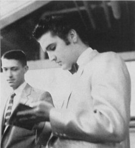 Elvis Presley (1935-1977) backstage at Toledo, Ohio's Sports Arena, November 22, 1956