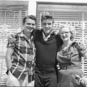 Sam Phillips, Elvis Prestley, and Marion Keisker in 1956
