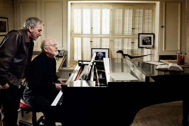 "Steven Spielberg and John Williams in Williams' composing ""bungalow"", circa 2000"