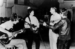 The Beatles and George Martin in the Abbey Road studio, London, in 1966