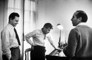 Stephen Sondheim, Leonard Bernstein (1918-1990), and choreographer Jerome Robbins (1918-1998), at work on West Side Story, 1956