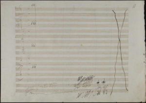 """A page from Beethoven's manuscript of his Piano Concerto No. 3, empty but for """"a few Egyptian hieroglyphs"""""""