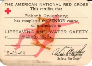 """""""Senior Lifesaving and Water Safety"""" card, front"""