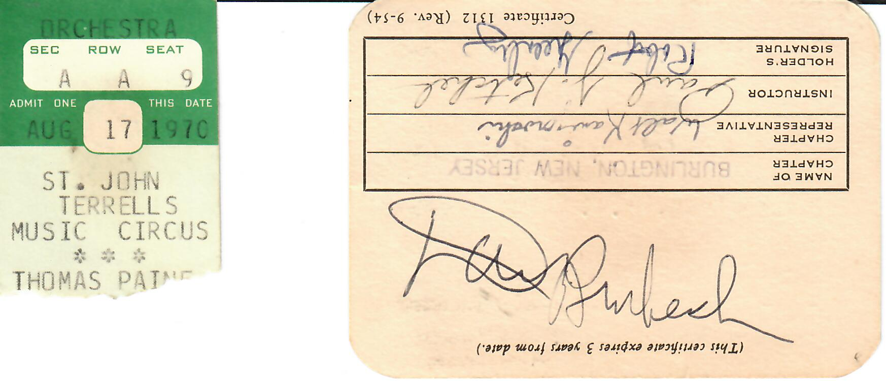 My lifesaving card, back, with Brubeck's autograph and my ticket stub from the concert