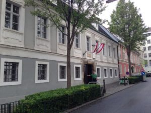 Haydn's house in Vienna - taken in 2014 with yours truly out front