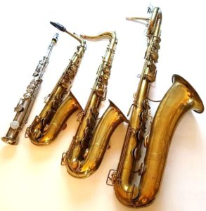 Left-to-right: soprano, alto, tenor, and baritone saxophones built by Adolphe Sax in Paris in 1865